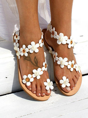 2019 New Spring Summer Flowers Beaded Flat Sandals