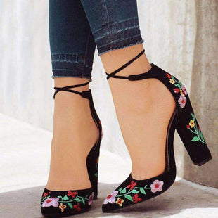Pointed Embroidered Matte Chunky Sandals
