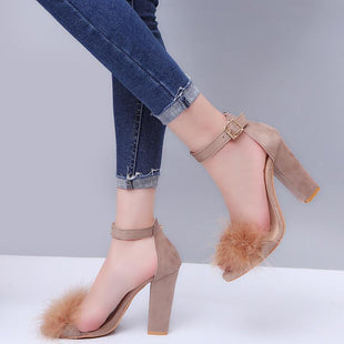 Rabbit Fur Buckle High Heel Sandals