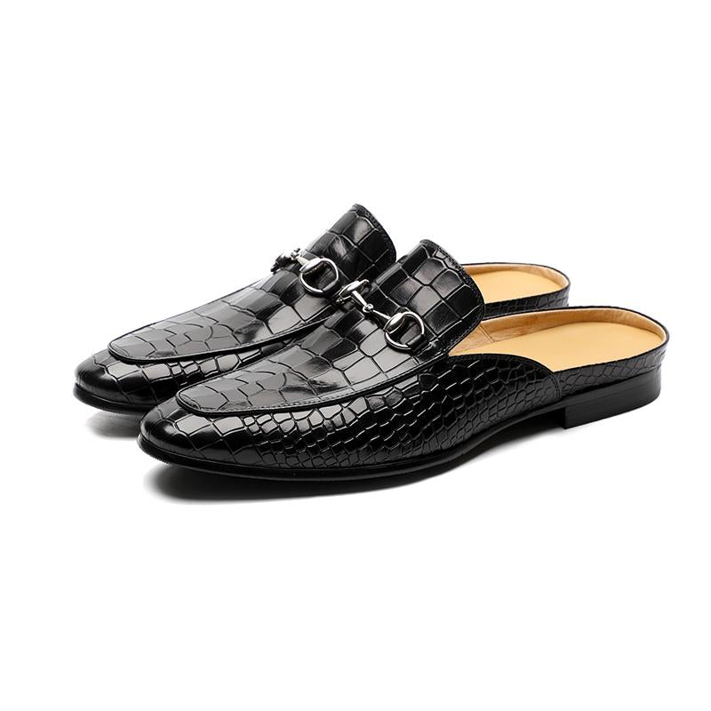 Men's leather toe slippers
