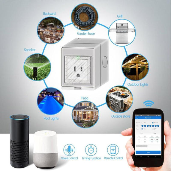 Outdoor WiFi Smart Plug Work With Amazon Alexa Google Home