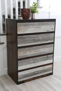 Gorgeous handcrafted dark solid wood modern rustic five drawer chest. Made in the U.S.A. from re-claimed barn wood. Very classy and comfortable with lots of storage.