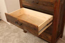 Load image into Gallery viewer, Gorgeous handcrafted solid wood modern rustic five drawer chest. Made in the U.S.A. from re-claimed barn wood. Very classy and comfortable. Will go great in any bedroom, and will offer plenty of storage with its spacious drawers.
