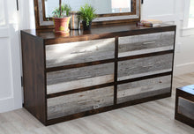 Load image into Gallery viewer, Gorgeous handcrafted dark solid wood modern rustic Six drawer dresser. Made in the U.S.A. from re-claimed barn wood. Very classy and comfortable with lots of storage.