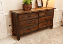 Load image into Gallery viewer, Gorgeous handcrafted solid wood modern rustic six drawer dresser. Made in the U.S.A. from re-claimed barn wood. Very classy and comfortable. Will go great in any bedroom, and will offer plenty of storage with its spacious drawers.