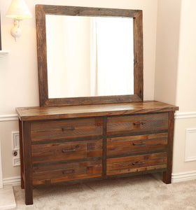 Gorgeous handcrafted solid wood modern rustic six drawer dresser. Made in the U.S.A. from re-claimed barn wood. Very classy and comfortable. Will go great in any bedroom, and will offer plenty of storage with its spacious drawers.