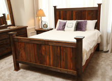 Load image into Gallery viewer, Gorgeous handcrafted solid wood modern rustic Barnwood bed. Made in the U.S.A. from re-claimed barn wood. Very classy and comfortable. Will go great in any bedroom or cabin setting.