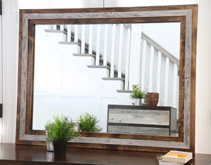 Gorgeous handcrafted dark solid wood modern rustic Mirror. Made in the U.S.A. from re-claimed barn wood. Very classy and comfortable. Will look great in a bedroom, living room, dining room or bathroom.