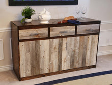 Load image into Gallery viewer, Gorgeous handcrafted dark solid wood modern rustic Buffet unit, this one of a kind piece will look great in a dining room, living room or as a t.v. stand. Made in the U.S.A. from re-claimed barn wood. Very classy and comfortable.