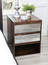 Load image into Gallery viewer, Gorgeous handcrafted dark solid wood modern rustic bedside nightstand. Made in the U.S.A. from re-claimed barn wood. Very classy and comfortable with lots of storage. Will add elegance to any bed and or bedroom.