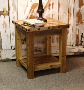 barnwood end table rustic with nailheads hidden compartment concealment concealed drawer