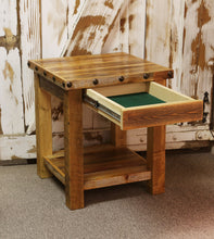 Load image into Gallery viewer, barnwood end table rustic with nailheads hidden compartment concealment concealed drawer