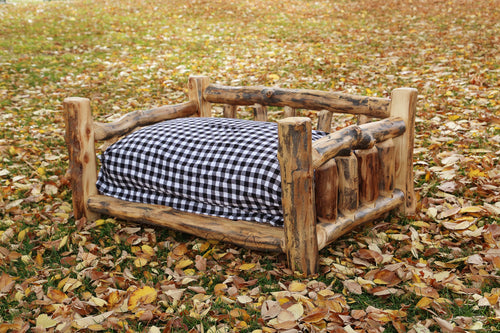 Gorgeous handcrafted solid wood modern Aspen pet bed. Made in the U.S.A. from aspen or quakie logs. Very classy and comfortable. Designed specifically with pets in mind. Will go great in any bedroom or cabin setting.