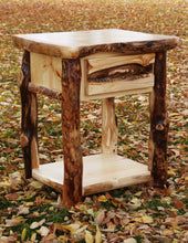 Load image into Gallery viewer, Gorgeous handcrafted solid wood modern Aspen alpine alpine nightstand. Made in the U.S.A. from aspen or quakie logs. Very classy and comfortable. Will go great next to any bed in any bedroom or cabin setting. Offers plenty of storage with its big spacious drawer and rack. The quality is unbeatable.