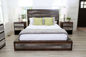 Gorgeous handcrafted dark solid wood modern rustic bed. Made in the U.S.A. from re-claimed barn wood. Very classy and comfortable. Will add elegance to any bedroom.
