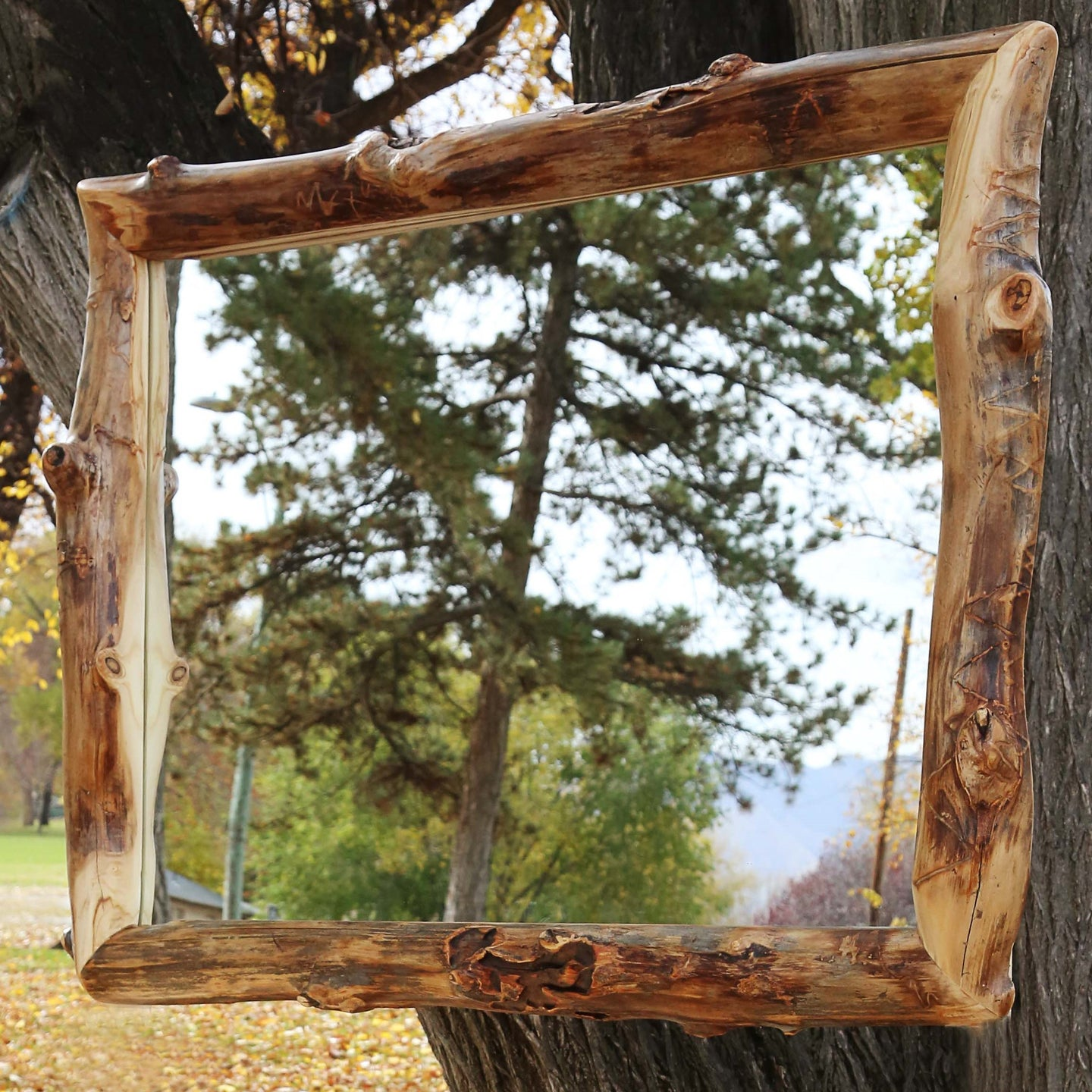 Gorgeous handcrafted solid wood modern Aspen mirror. Made in the U.S.A. from aspen or quakie logs. Very classy and comfortable. Will go great in any bedroom or cabin setting.