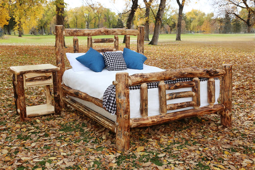Gorgeous handcrafted solid wood modern Aspen alpine bed. Made in the U.S.A. from aspen or quakie logs. Very classy and comfortable. Will go great in any bedroom or cabin setting.
