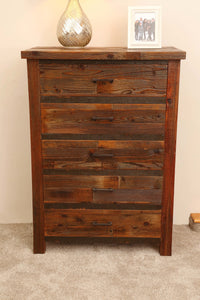 Gorgeous handcrafted solid wood modern rustic five drawer chest. Made in the U.S.A. from re-claimed barn wood. Very classy and comfortable. Will go great in any bedroom, and will offer plenty of storage with its spacious drawers.