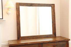Gorgeous handcrafted solid wood modern rustic mirror. Made in the U.S.A. from re-claimed barn wood. Very classy and comfortable. Will go great in any bedroom, living room, dining room or den.