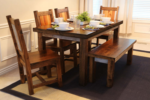 Gorgeous handcrafted dark solid wood modern rustic dining table, bench and chairs. Made in the U.S.A. from re-claimed barn wood. Very classy and comfortable.