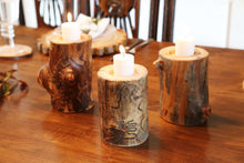 Load image into Gallery viewer, Gorgeous handcrafted solid wood modern live edge bark aspen quakie candle holder. Made in the U.S.A. these candle holders are very classy and elegant. Sure to be a conversation piece in any home or cabin. Use these chargers to place plates on to complete your dining, coffee or end table.