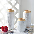 White Marbling Table Vases with Golden Mouth - lovedécorart