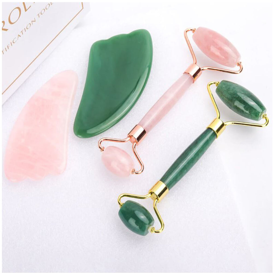 rose quartz and jade roller
