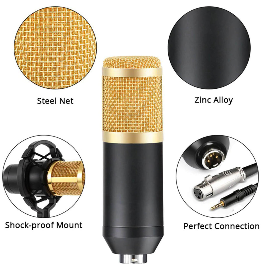 Studio Microphone Studio with L8 Sound Card for Recording and Vlogging