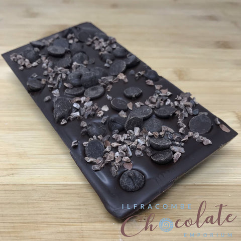 Deluxe Dark Chocolate Bar with 70% chocolate drops and Cacao Nibs