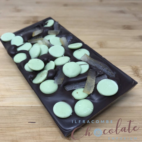 Deluxe Dark Chocolate Bar w/ Lemon/Lime Drops & Crystallised Lemon Peel