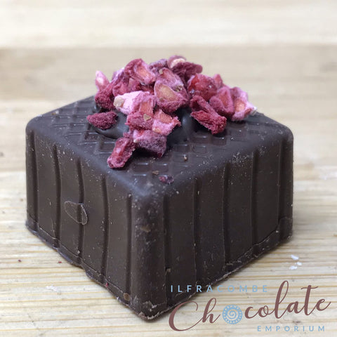 Handmade Dark Chocolate with Raspberry fondant