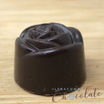 Handmade Dark chocolate and crystallised rose fondant
