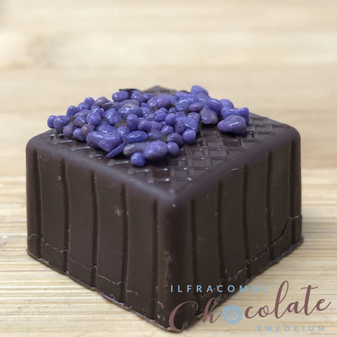 Handmade Dark chocolate and crystallised Violet fondant