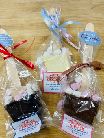 Hot Chocolate Marshmallow Stirrers in Milk, Dark or White