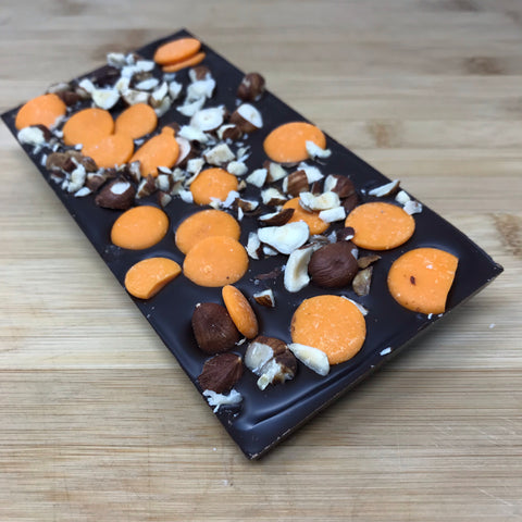 Deluxe Dark Chocolate Bar with Orange Drops and Hazelnuts