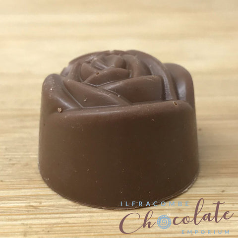 Handmade Milk chocolate and crystallised rose fondant