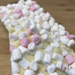 White Chocolate Slab with pink and white marshmallows