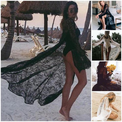 Lace Hollow Crochet Swimwear Bikini Long Sleeve Cover Up Beach Dress Sarongs Kaftan