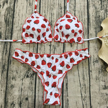 Fruit Print Bikini Set Push-up Padded Bra