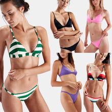 Striped Padded Bandage Bikini Set Triangle Swimsuit