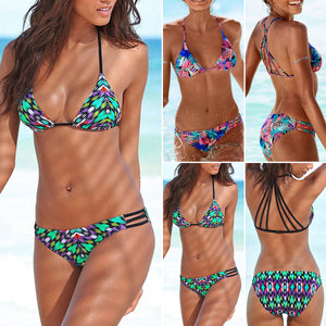 Floral Swimsuit Padded Push-up Bandage Bikini Set