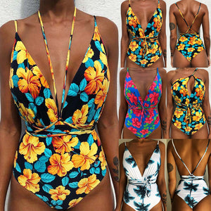 One Piece Deep V neck Floral Swimsuit