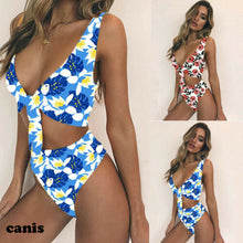 Sexy Flower Print Push Up High Waist Padded Bikini Set