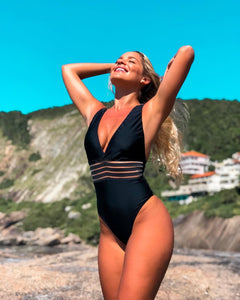 One-piece V neck Backless Monokini Push Up Bikini