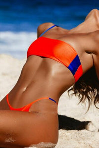 2PCS Sexy Women Solid Bikini Set Push-up Bra