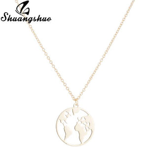 World Map Necklace Women Geometric Necklace Round Necklace Circle Necklaces & Pendants Choker Jewelry