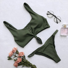 Sexy Knotted Scoop Ribbed Women Bikini Set
