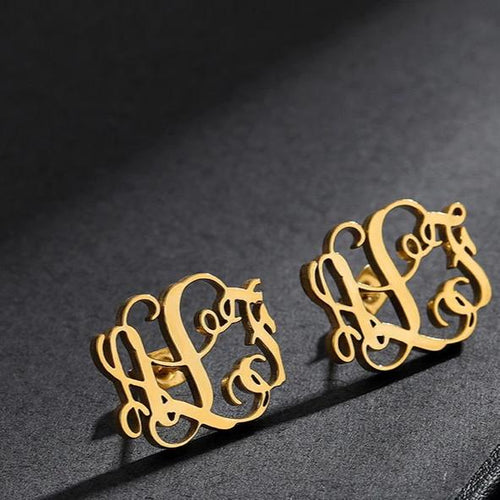 Custom Initial Monogram Letter Earrings Gold Sliver Stainless Steel Personalized Name Earrings For Women Minimal Stud Earrings