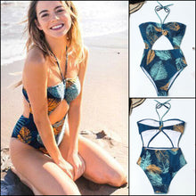 Hollow Out Leaves Print Bikini Set Push-up backless Swimsuit