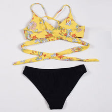 Triangle Push-up Padded Bandage Cross Floral Bikini Set